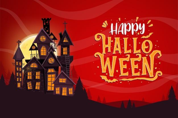 Fröhliche halloween-feier mit spukschloss Kostenlosen Vektoren