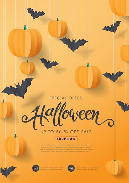 Fröhliche halloween-kalligraphie mit papierfledermäusen und kürbissen. banner sonderangebot verkauf. Premium Vektoren