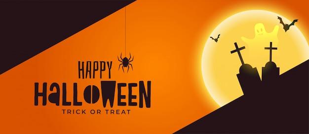 Fröhliche halloween spooky banner mit grab und geist Kostenlosen Vektoren