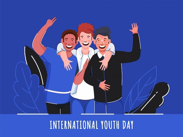 Fröhliche jungen in der fotoerfassungspose auf blauem hintergrund für den internationalen jugendtag. Premium Vektoren