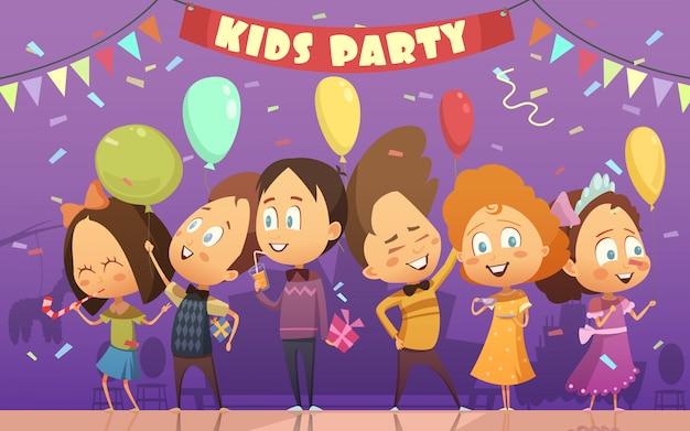 Fröhliche kinder, die an der geburtstagskarikaturkarikatur-vektorillustration tanzen und spielen Kostenlosen Vektoren
