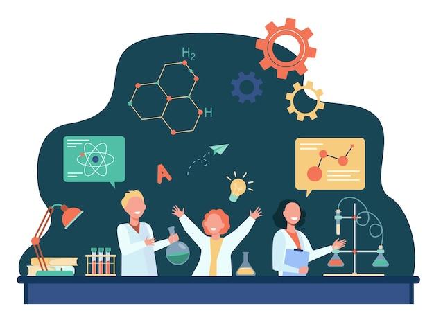 Fröhliche kinder lernen im chemieunterricht flache illustration. Kostenlosen Vektoren