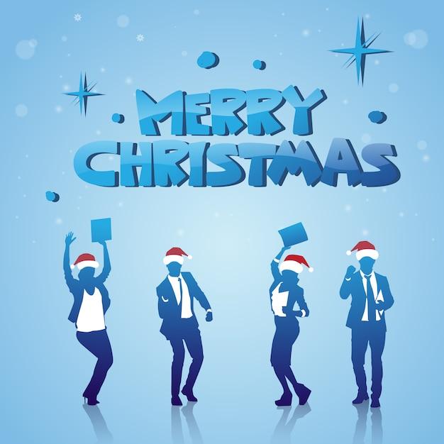 Fröhliche menschen silhouetten mit santa hats frohe weihnachten winterferien poster feiern Premium Vektoren