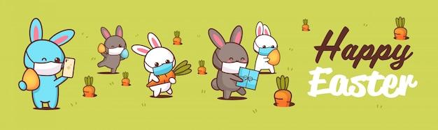 Fröhliche ostergrußkarte mit kaninchen, die masken tragen, um coronavirus-pandemie zu verhindern Premium Vektoren