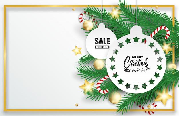 Fröhliche weihnachten. entwerfen sie mit weihnachtsbaum, bällen und zuckerstangen auf weißem hintergrund. Premium Vektoren