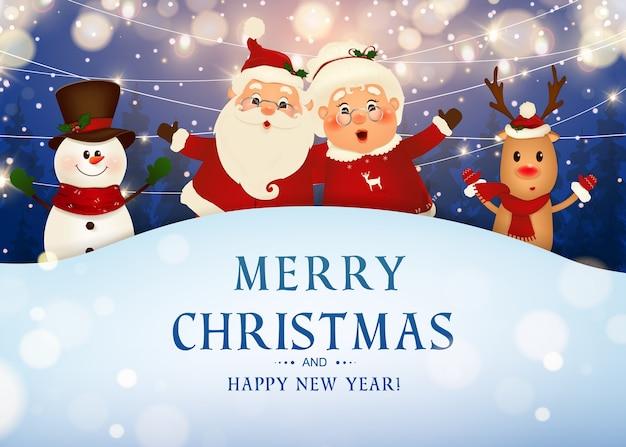 Fröhliche weihnachten. frohes neues jahr. lustiger weihnachtsmann mit frau claus, rotnasiges rentier, schneemann in der weihnachtsschneeszene winterlandschaft. frau claus zusammen. zeichentrickfigur des weihnachtsmannes. Premium Vektoren