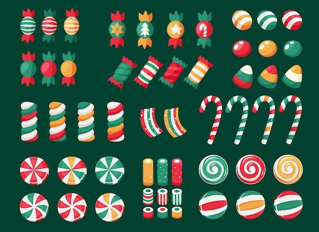 Fröhliche weihnachten. großer satz weihnachtssüßigkeiten und -bonbons Premium Vektoren