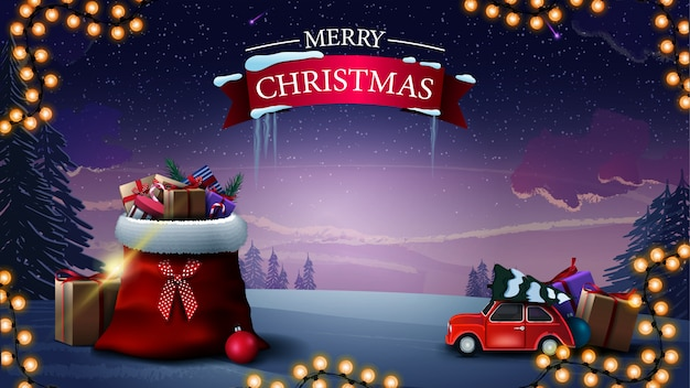 Fröhliche weihnachten. schöne grußkarte mit santa claus-tasche mit geschenken, tragendem weihnachtsbaum des roten weinleseautos und winterlandschaft Premium Vektoren
