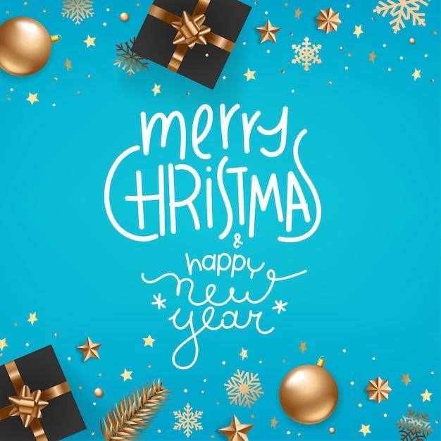 Fröhliche weihnachten und frohes neues Premium Vektoren