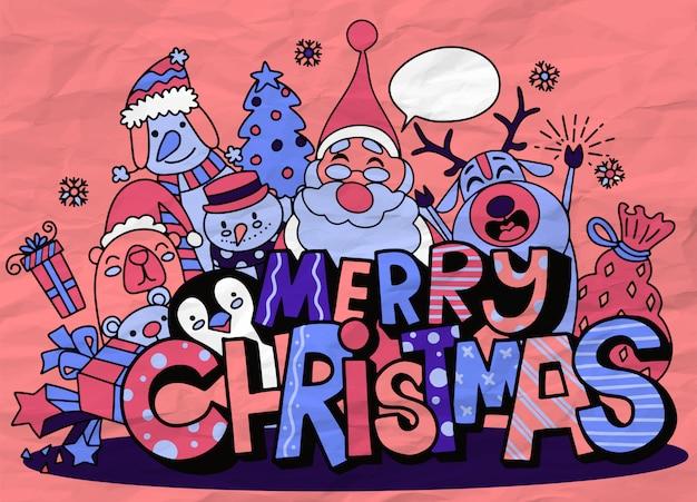 Fröhliche weihnachten! weihnachtsnetter charakter und nettes alphabet Premium Vektoren
