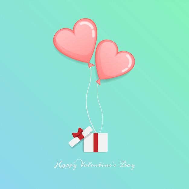 Fröhlichen valentinstag. offene geschenkbox mit herz schweben Premium Vektoren