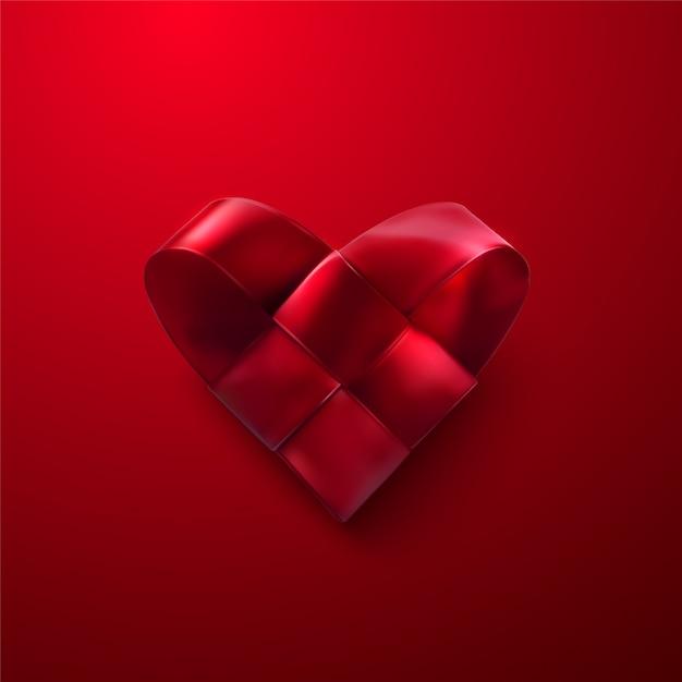 Fröhlichen valentinstag. rotes realistisches gesponnenes herz. valentinstag-symbol der geflochtenen satinband-herzform. Premium Vektoren