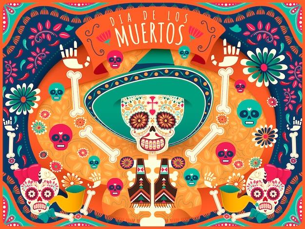 Fröhlicher tag der toten poster, buntes skelett und schädel tanzen glücklich in orange und türkis in flachem stil, feiertagsname in spanisch Premium Vektoren
