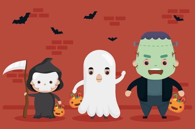 Fröhliches halloween frankenstein und tod mit geisterfiguren Premium Vektoren