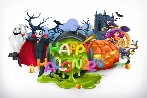 Fröhliches halloween. kürbis, katze, hexe, vampir, krypta, schriftzug, vektoremblem Premium Vektoren
