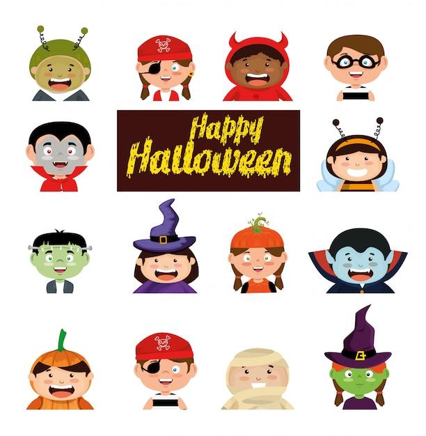 Fröhliches halloween mit kostüm kinder festgelegt Kostenlosen Vektoren