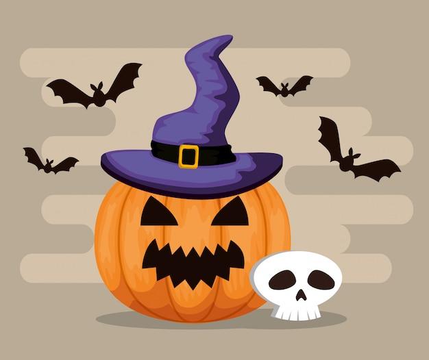 Fröhliches halloween mit kürbis und hexenhut Kostenlosen Vektoren