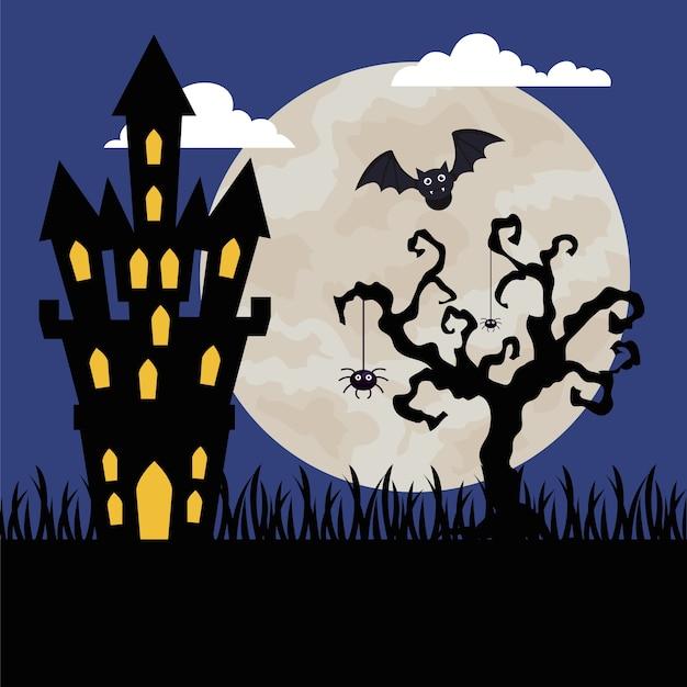 Fröhliches halloween mit schloss in der dunklen nacht heimgesucht Premium Vektoren
