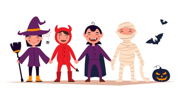 Fröhliches halloween. satz niedliche karikaturkinder in den bunten halloween-kostümen Premium Vektoren