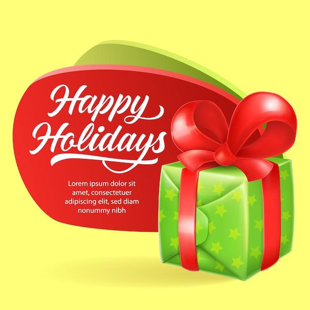 Frohe feiertage festliche flyer design. grüne geschenkbox Kostenlosen Vektoren