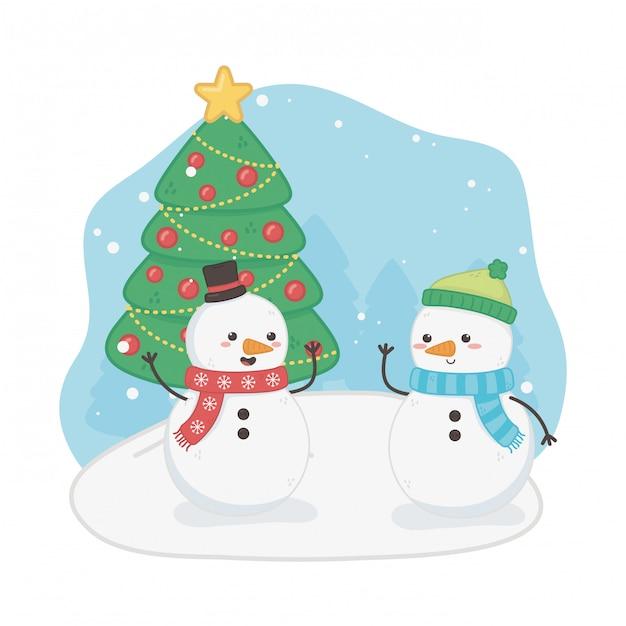 Frohe frohe weihnachten-karte mit schneemännern Premium Vektoren