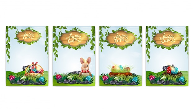 Frohe ostern, sammelpostkarten mit osterelementen und frühlingslandschaft Premium Vektoren