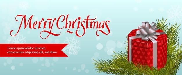 Frohe weihnachten-banner-design. tannenzweig Kostenlosen Vektoren