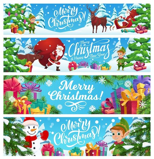 Frohe weihnachten banner gesetzt. Premium Vektoren