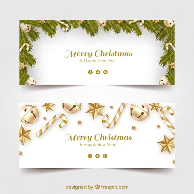Frohe Weihnachten Banner mit goldener Verzierung Kostenlose Vektoren