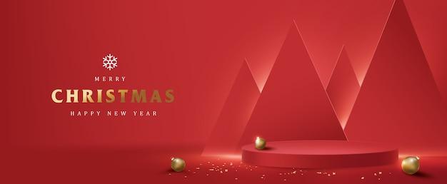 Frohe weihnachten banner mit produktanzeige zylindrische form Premium Vektoren