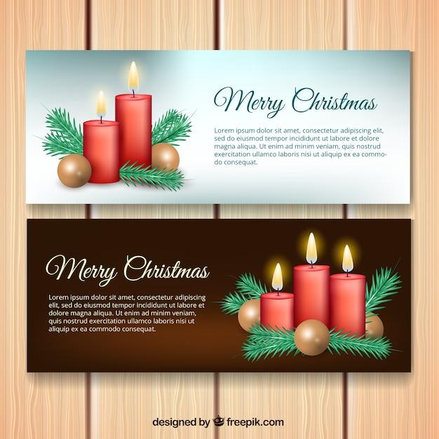 frohe weihnachten banner mit roten kerzen download der. Black Bedroom Furniture Sets. Home Design Ideas