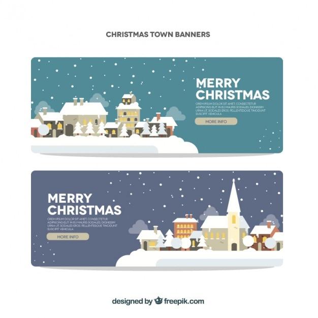 frohe weihnachten banner mit schneebedeckten d rfer. Black Bedroom Furniture Sets. Home Design Ideas