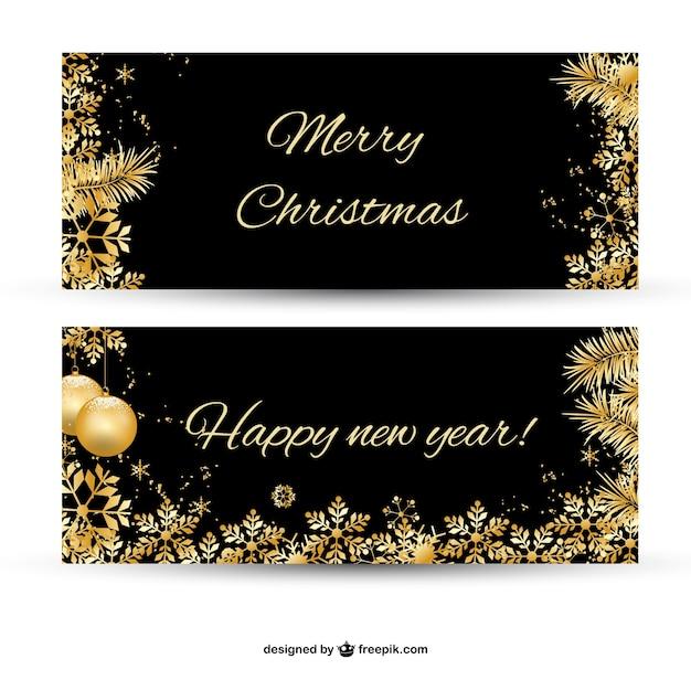 frohe weihnachten banner mit vergoldeten ornamenten. Black Bedroom Furniture Sets. Home Design Ideas