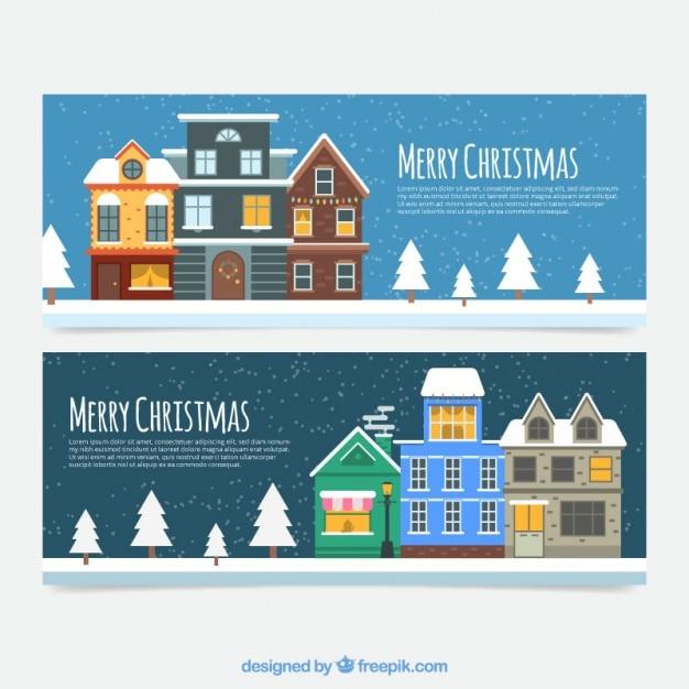 frohe weihnachten banner von flachen h user mit b umen. Black Bedroom Furniture Sets. Home Design Ideas