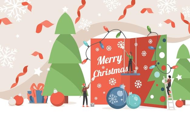 Frohe weihnachten banner vorlage. kleine leute, die einladungskartenillustration verzieren. Premium Vektoren