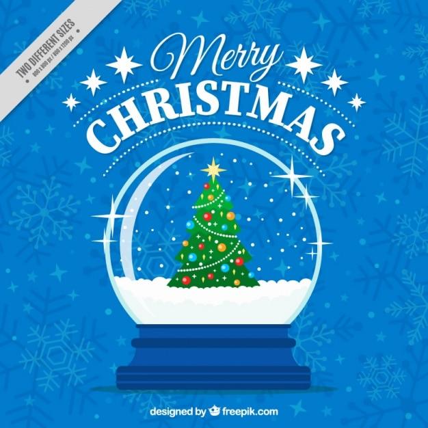 frohe weihnachten blauen hintergrund mit schneekugel mit. Black Bedroom Furniture Sets. Home Design Ideas
