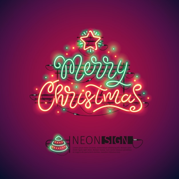 Frohe weihnachten bunte leuchtreklame Premium Vektoren