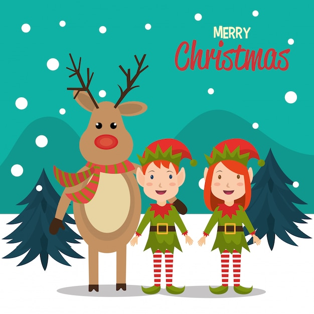 Frohe weihnachten cartoon grußkarte design Kostenlosen Vektoren