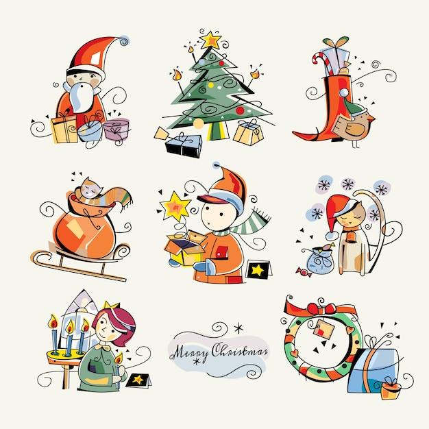 frohe weihnachten clip art sticker illustrationen. Black Bedroom Furniture Sets. Home Design Ideas