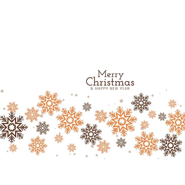 Frohe weihnachten dekorative fließende schneeflocken Kostenlosen Vektoren