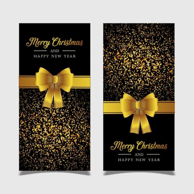 Frohe weihnachten der fahne mit goldenem hintergrund Premium Vektoren