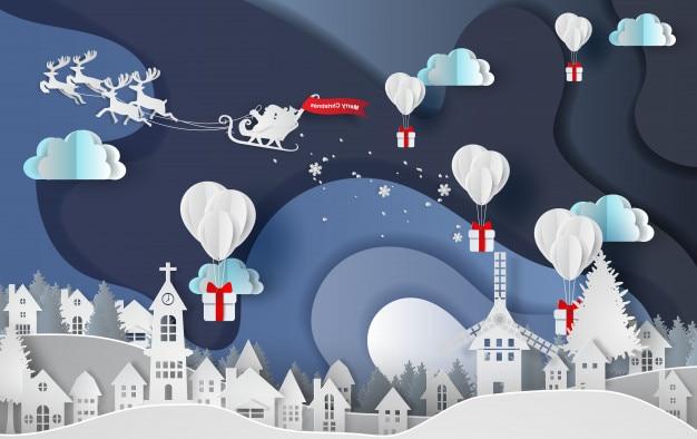 Frohe weihnachten des ballongeschenks in der stadt Premium Vektoren