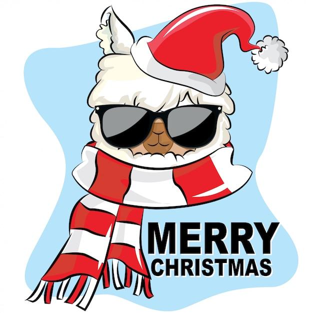 Frohe weihnachten des lamas mit sonnenbrillehut und -schal Premium Vektoren