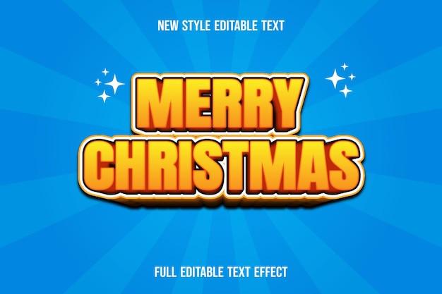 Frohe weihnachten des texteffekts auf gelbem und braunem farbverlauf Premium Vektoren