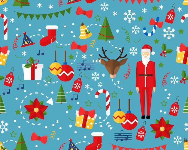 Frohe Weihnachten des Vektorflachen nahtlosen Beschaffenheitsmusters ...