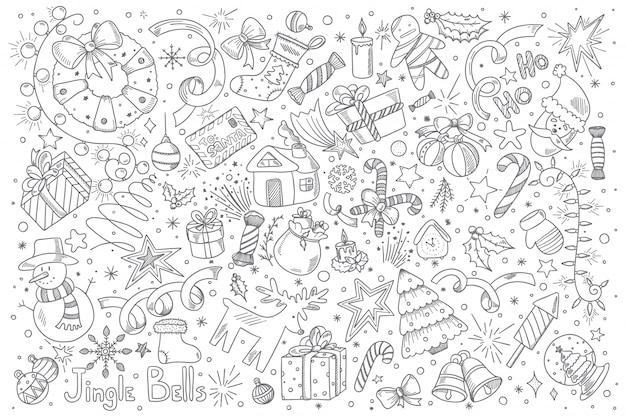 Frohe weihnachten doodle set Premium Vektoren