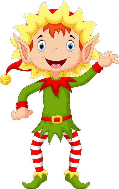 Frohe weihnachten elf cartoon Premium Vektoren