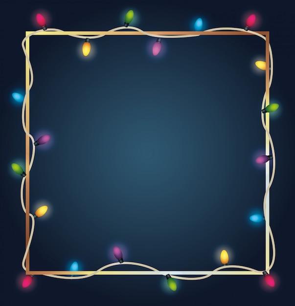 Frohe weihnachten färbt birnenlichter im quadratischen rahmen Premium Vektoren