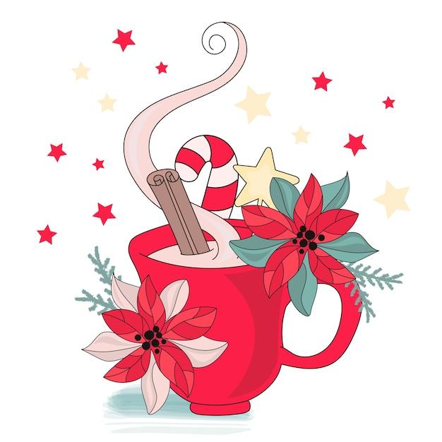 Frohe weihnachten farbe vektor illustration set Premium Vektoren