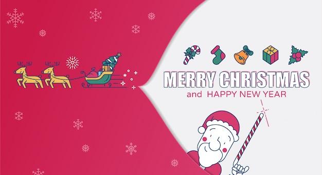 Frohe weihnachten farbige linie vektorillustration. Premium Vektoren
